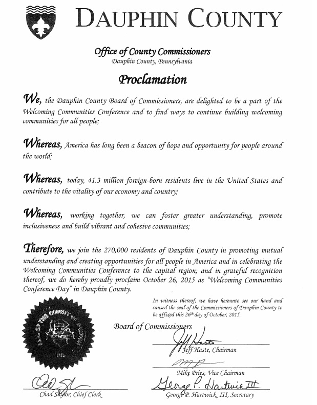 Dauphin County's Welcoming Communities Conference Day Proclamation